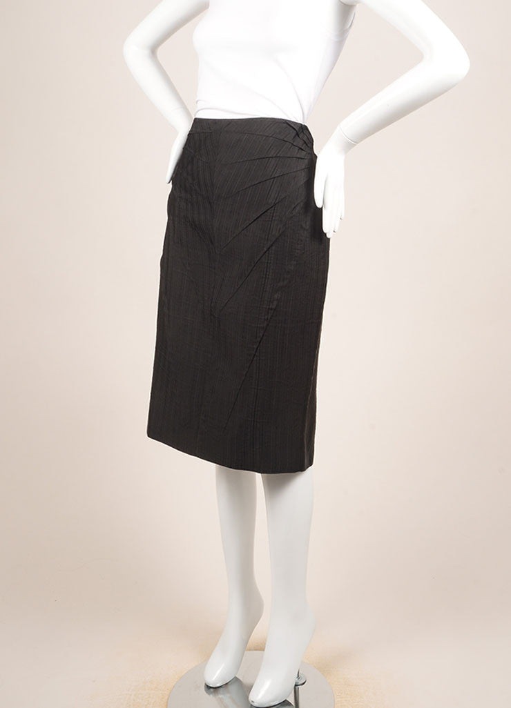 Alexander McQueen Black Silk Pinstripe Pintuck Pleated Pencil Skirt Sideview