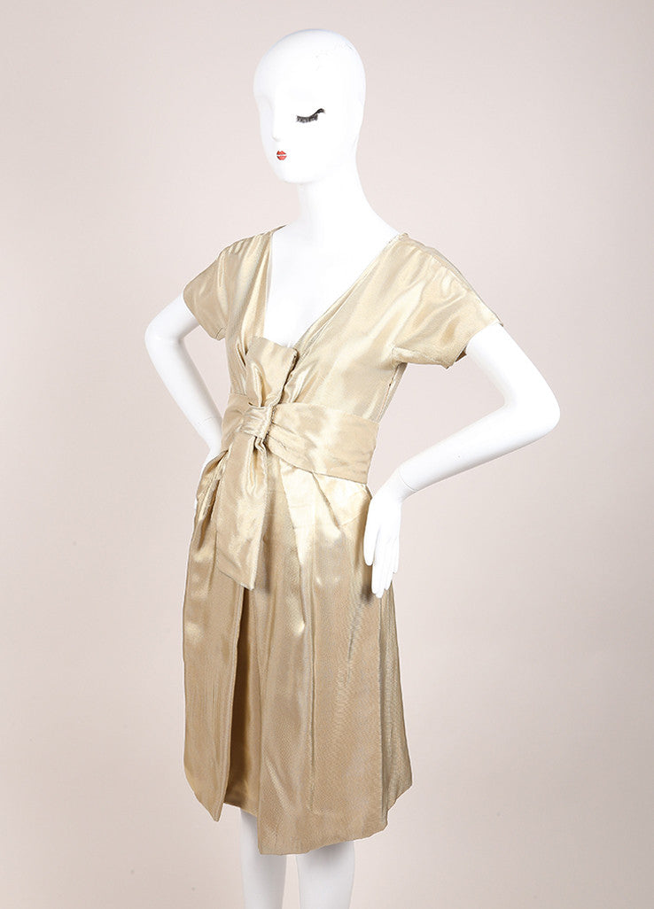 Alexander McQueen Gold Woven Metallic Pleated Short Sleeve Belted Dress Sideview