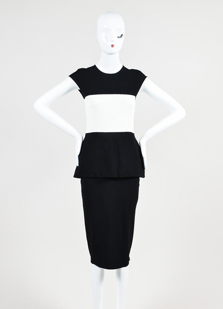 Black and White Alexander McQueen Knit Color Block Peplum Dress Frontview