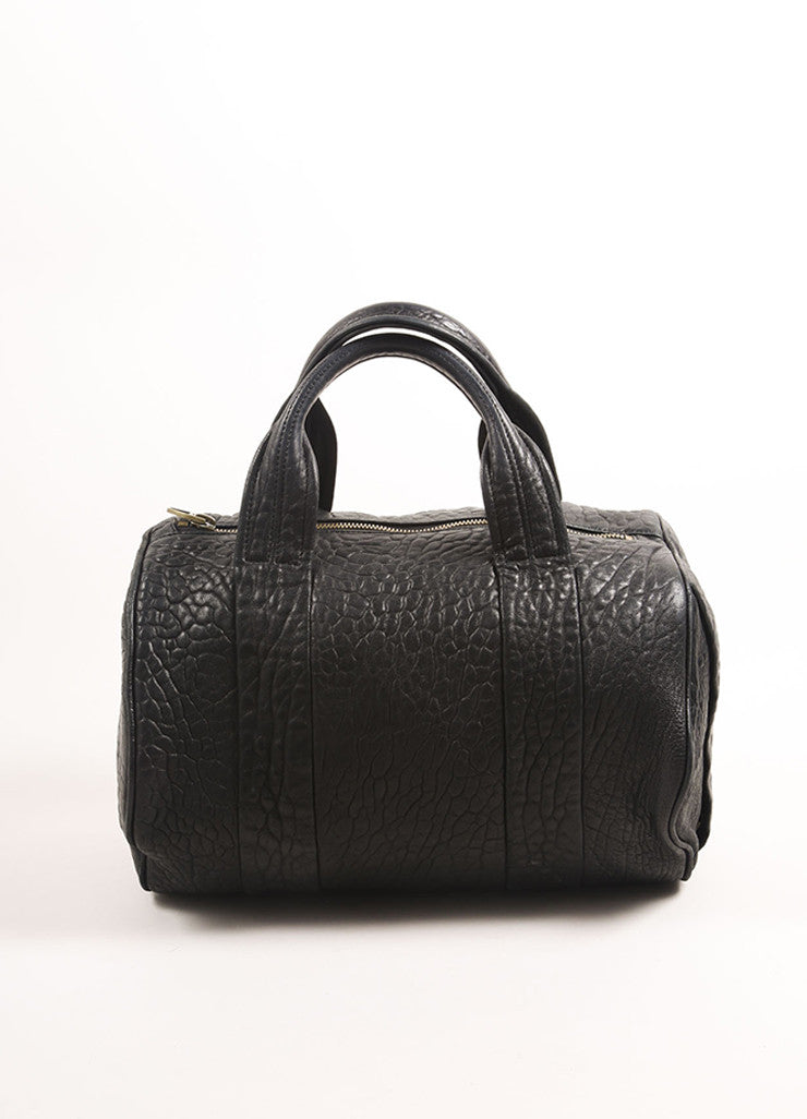 "Alexander Wang Black Pebbled Leather Gold Toned Studded ""Rocco"" Duffel Bag Frontview"