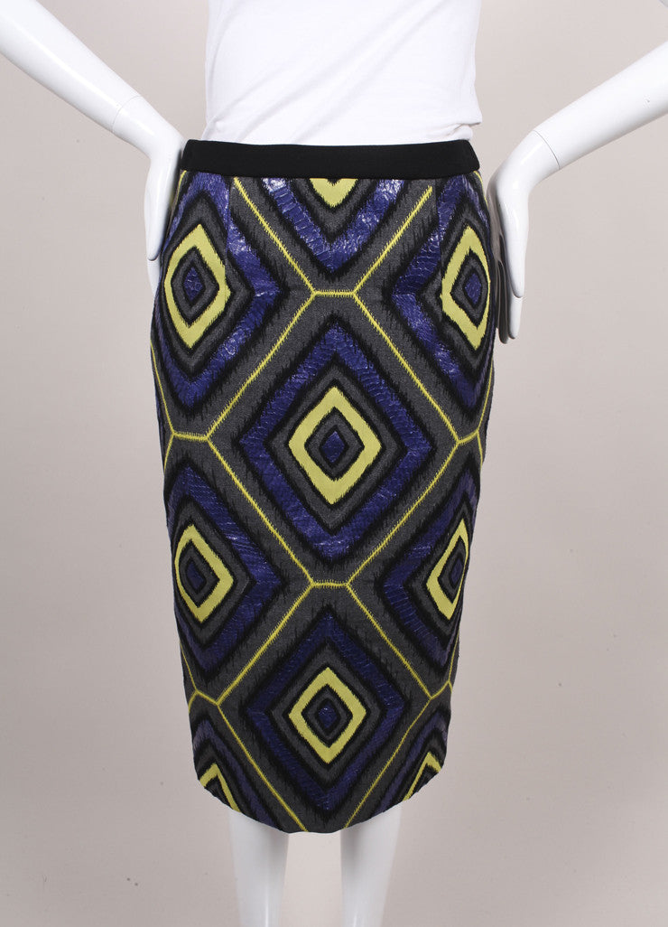 Andrew Gn New With Tags Black and Multicolor Snakeskin Leather and Wool Pencil Skirt Frontview