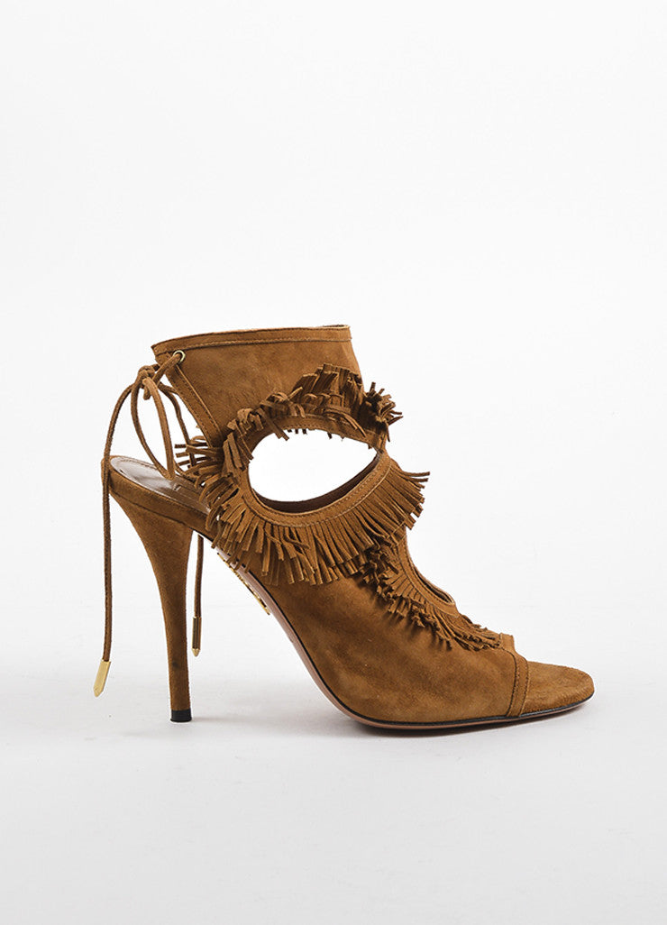Aquazzura Brown Suede Cut Out Fringe Sandal Heels Sideview