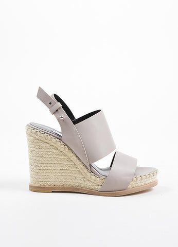 Balenciaga Taupe Leather Espadrille Wedge Sandals Sideview