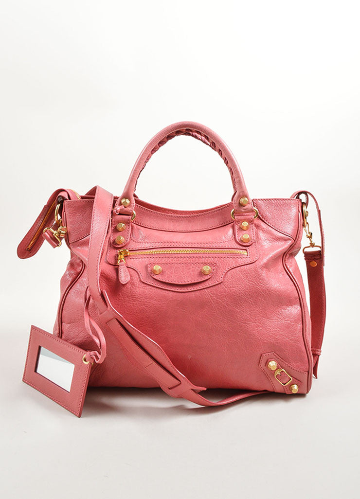 Balenciaga Pink Leather Gold Toned Stud Moto City Tote Bag Frontview
