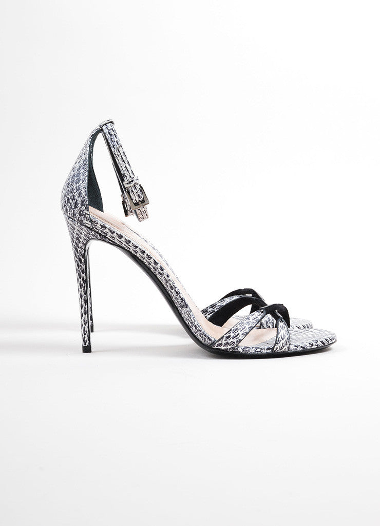 "Barbara Bui Black and White Snakeskin Embossed ""Dotty"" Sandals Sideview"
