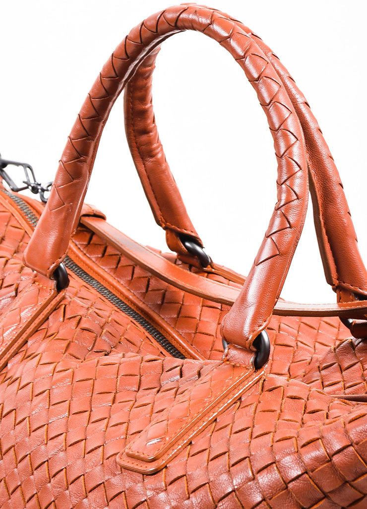 """Apia"" Red Bottega Veneta Leather Intrecciato Woven Convertible Tote Bag Detail 2"