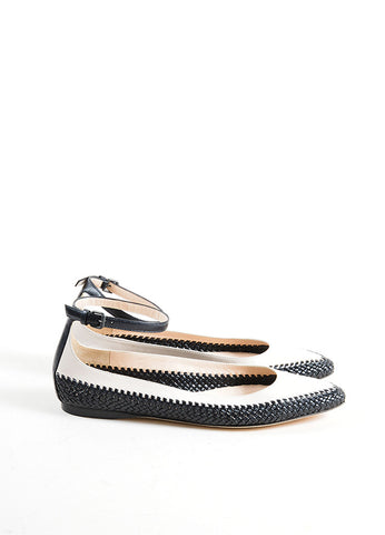 Bottega Veneta Beige and Black Woven Leather Ballerina Flats Sideview