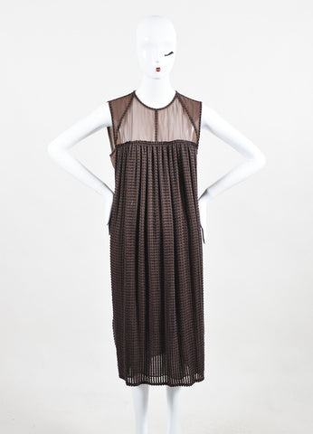 Bottega Veneta Brown Silk Embroidered Sleeveless Shift Dress Frontview