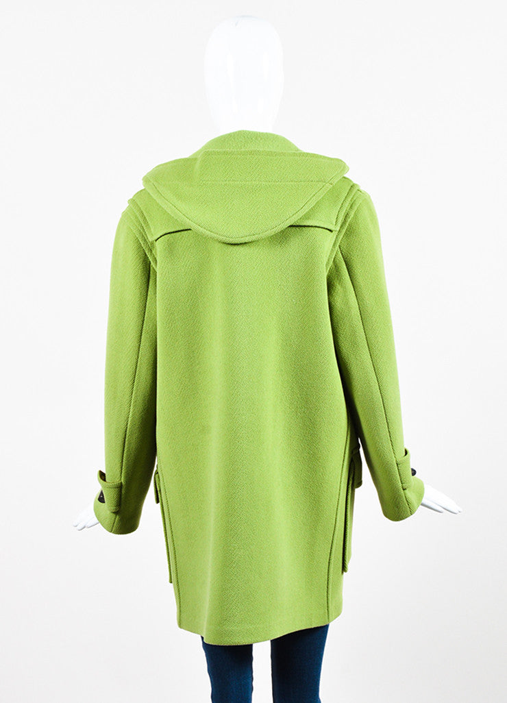 Burberry Lime Green Wool Hooded Toggle Button Coat Backview