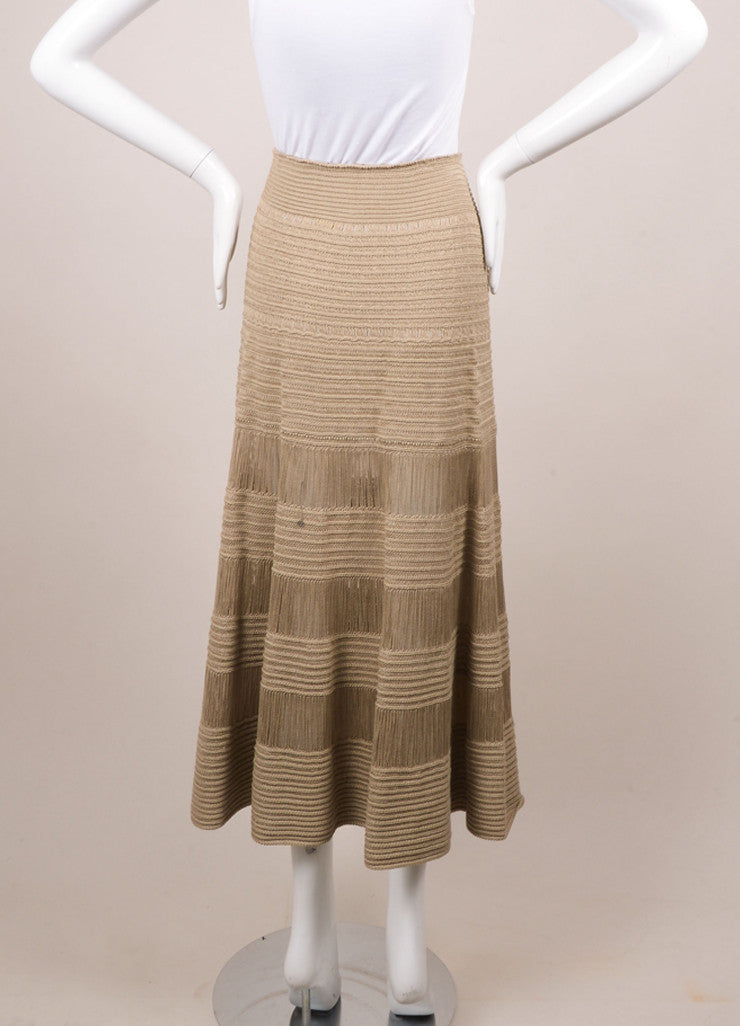 Celine Beige Silk and Cotton Tiered Knit Long Skirt Backview