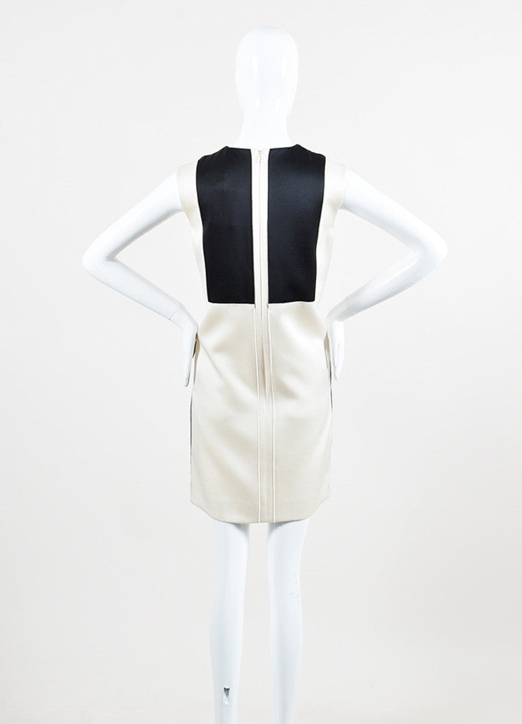 Celine Cream and Black Silk and Wool Blend Leather Trim Color Block Shift Dress Backview