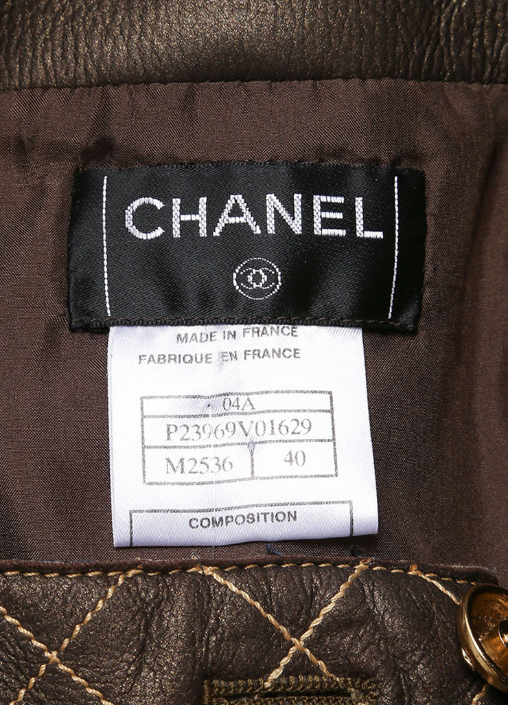 Chanel Brown and Bronze Leather Metallic Quilted Pencil Skirt Brand