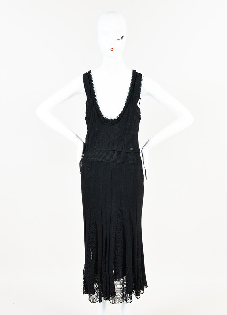 Chanel Black Knit Lace Pattern Godet Sleeveless Scoop Neck Dress Frontview