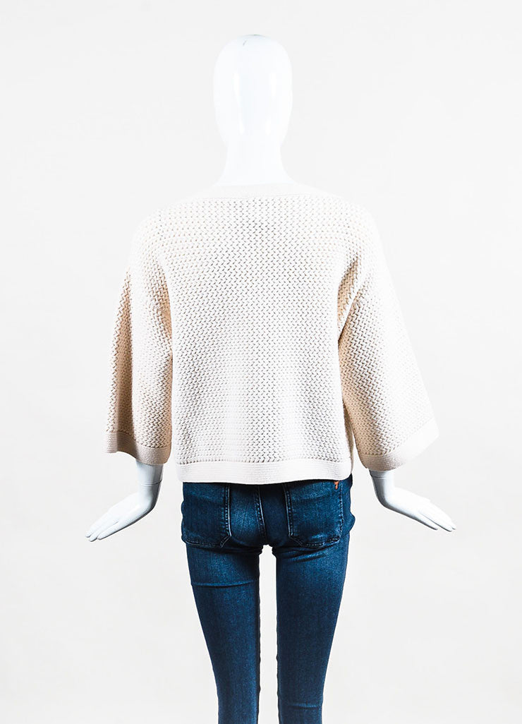 Chanel Cream Cashmere Chunky Knit Sweater Backview