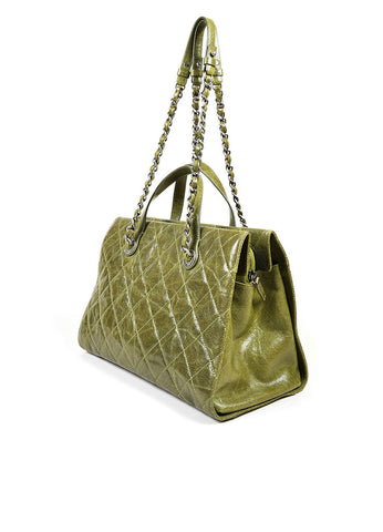 "Olive Green Chanel Caviar Leather Quilted Chain Strap ""Crave"" Tote Bag Sideview"