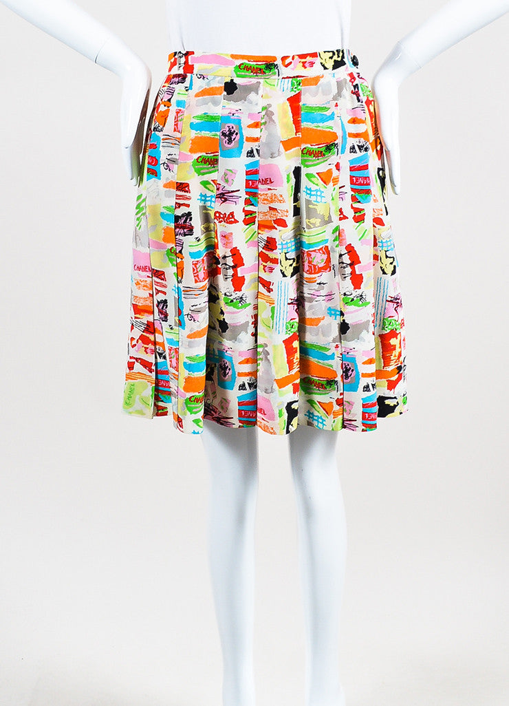 Chanel Multicolor Silk Abstract Paintbrush Print Pleated Skirt Frontview