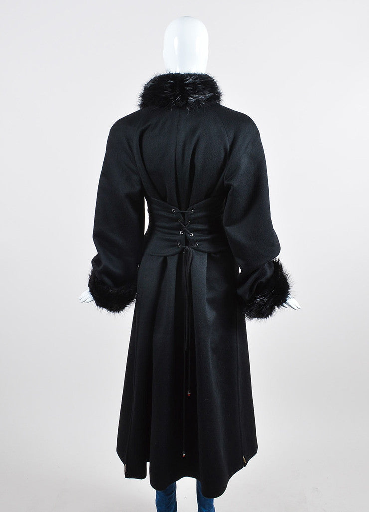 Black Chanel Cashmere Beaver Trim Double Breasted 'CC' Button Corset Coat Backview