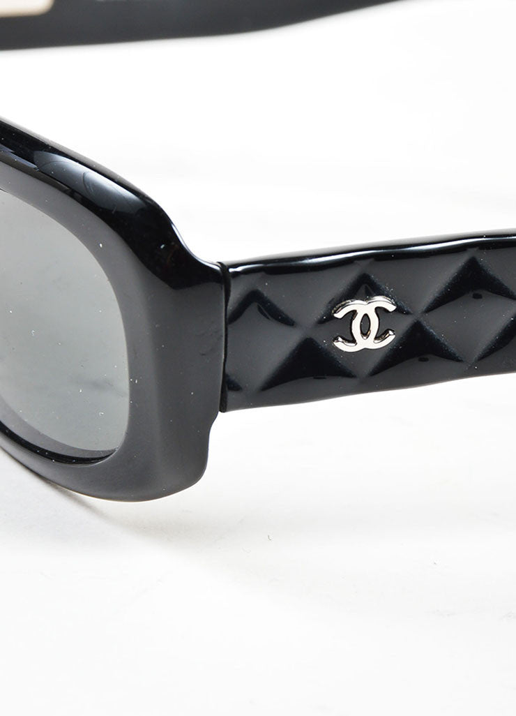 "Black Chanel Dark Tint Quilted 'CC' Logo Retro Style ""5094"" Rectangular Sunglasses Detail"