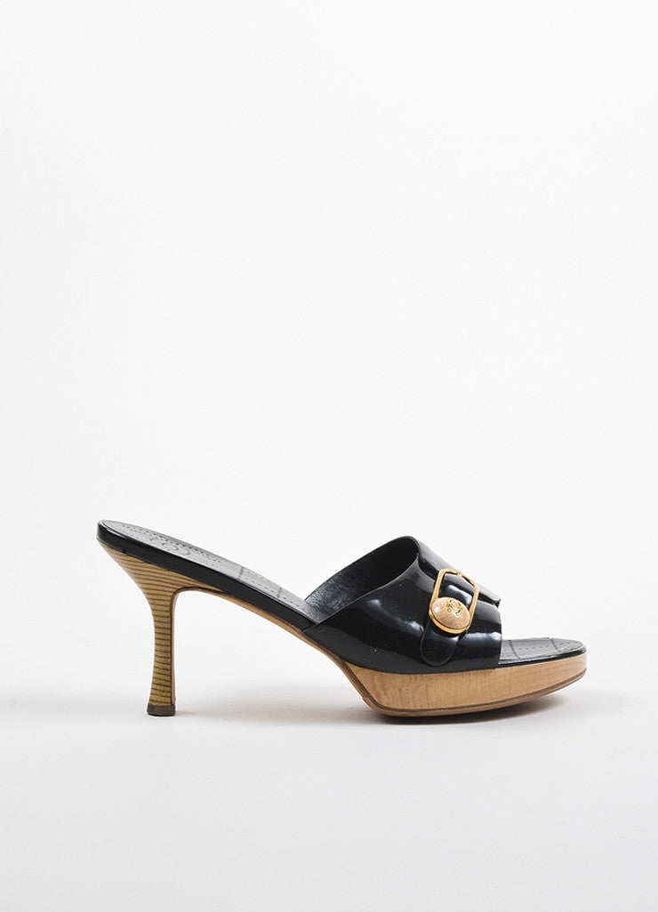 Chanel Black Patent Leather Gold Toned Wooden Buckle Heeled Mule Sandals Sideview