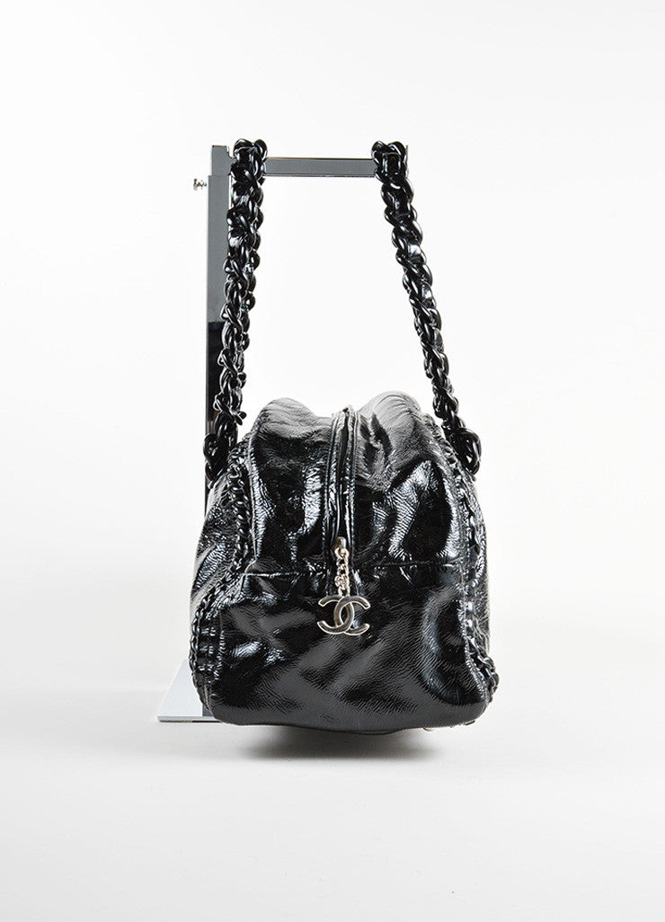 "Chanel Black Patent Leather Plastic Chain Link ""CC"" Zip Bowler Satchel Bag Sideview"