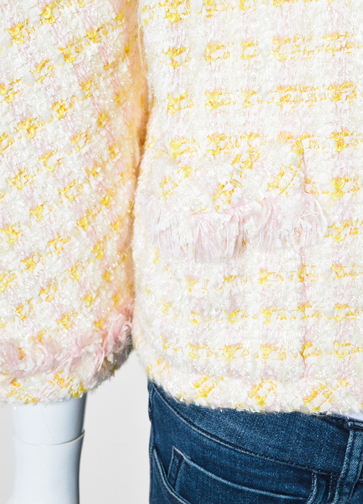Chanel Pink and Yellow Boucle Tweed Shimmer Tread Fray Edge Jacket Detail