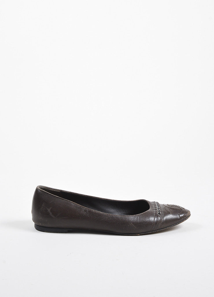 Chanel Brown Leather Chain Detail Cap Toe 'CC' Stitch Ballet Flats Sideview