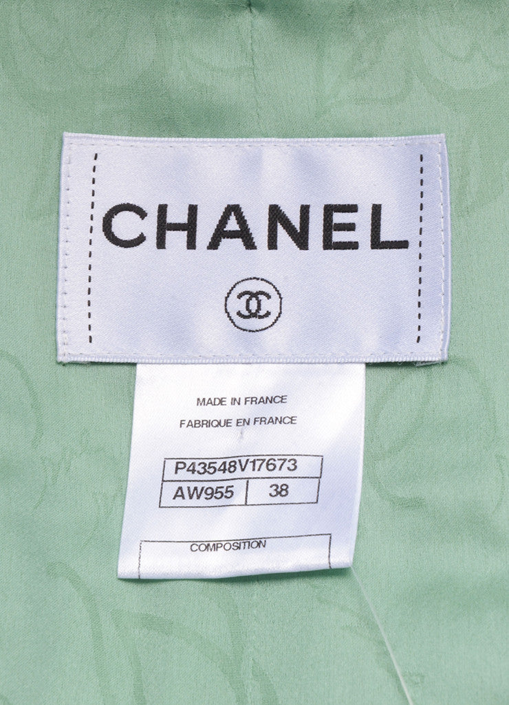 Chanel Mint Green and Black Contrast Woven Knit Cropped Jacket Brand
