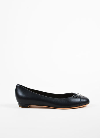 Chanel Black Leather Bow Cap Toe GHW 'CC' Ballerina Flats Sideview