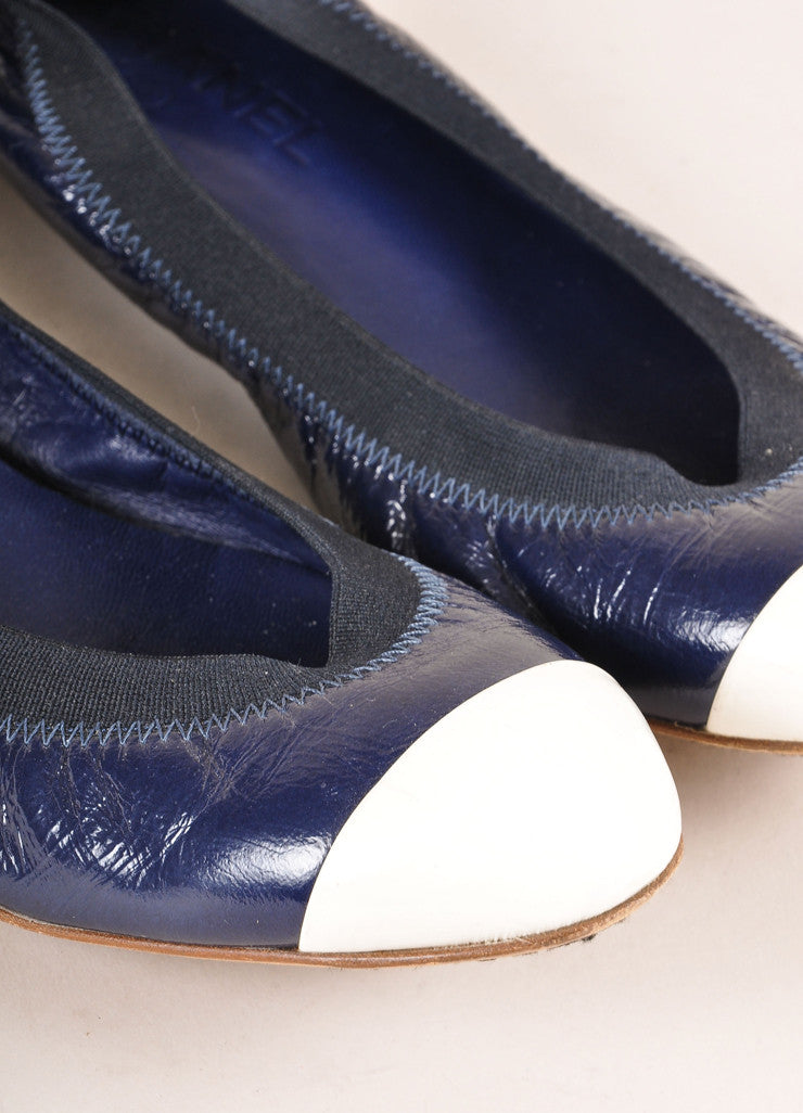 Chanel Navy and White Patent Leather Embossed Contrast Cap Toe Flats Detail
