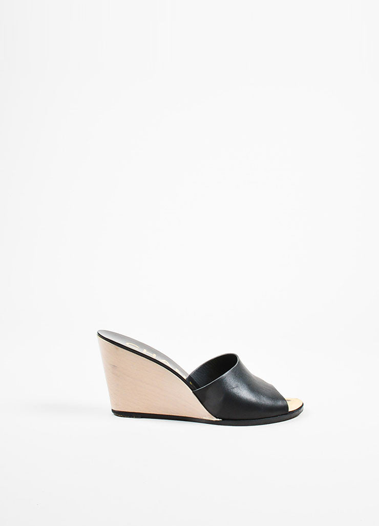 "Chanel ""Noir"" Black and White Open Toe Wedge Mules Sideview"