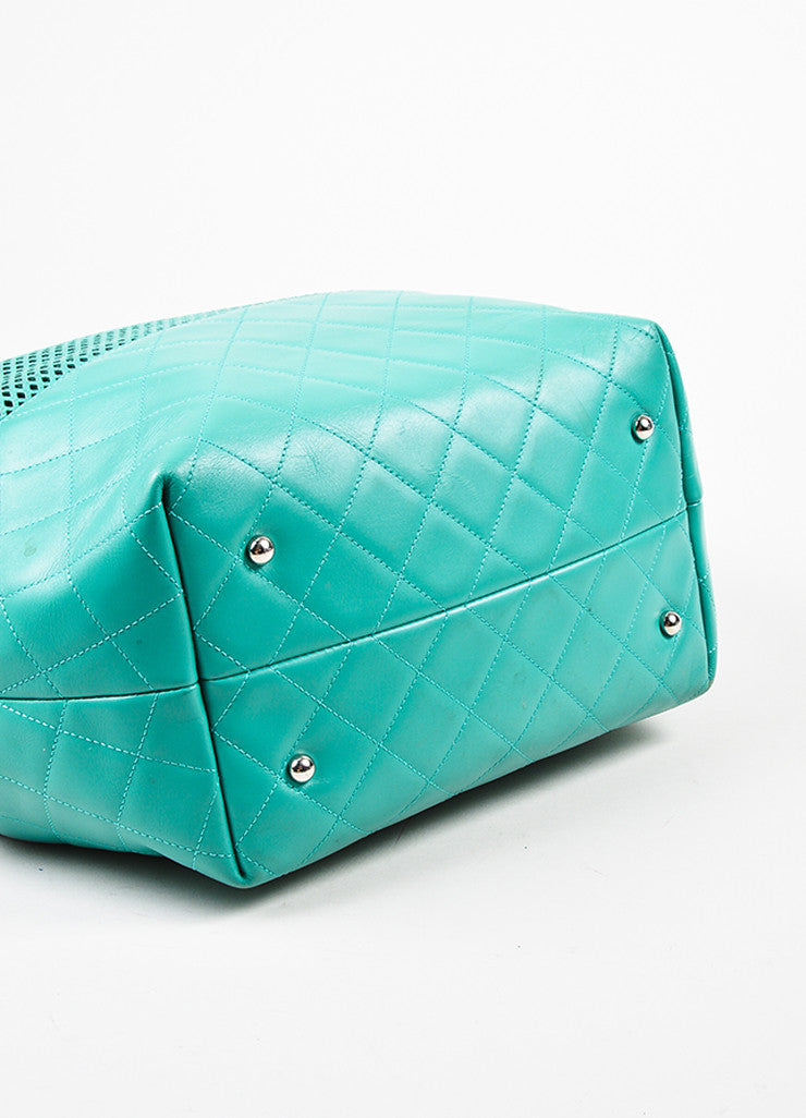"Chanel Teal Leather Perforated Quilted ""Up in the Air"" Chain Handle Tote Bag Bottom View"