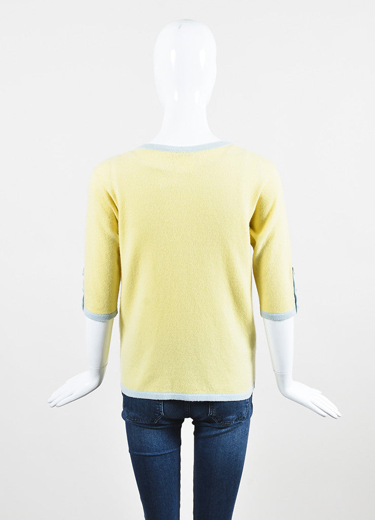 Chanel Yellow and Baby Blue Cashmere Cropped Sleeve Knit Cardigan Backview