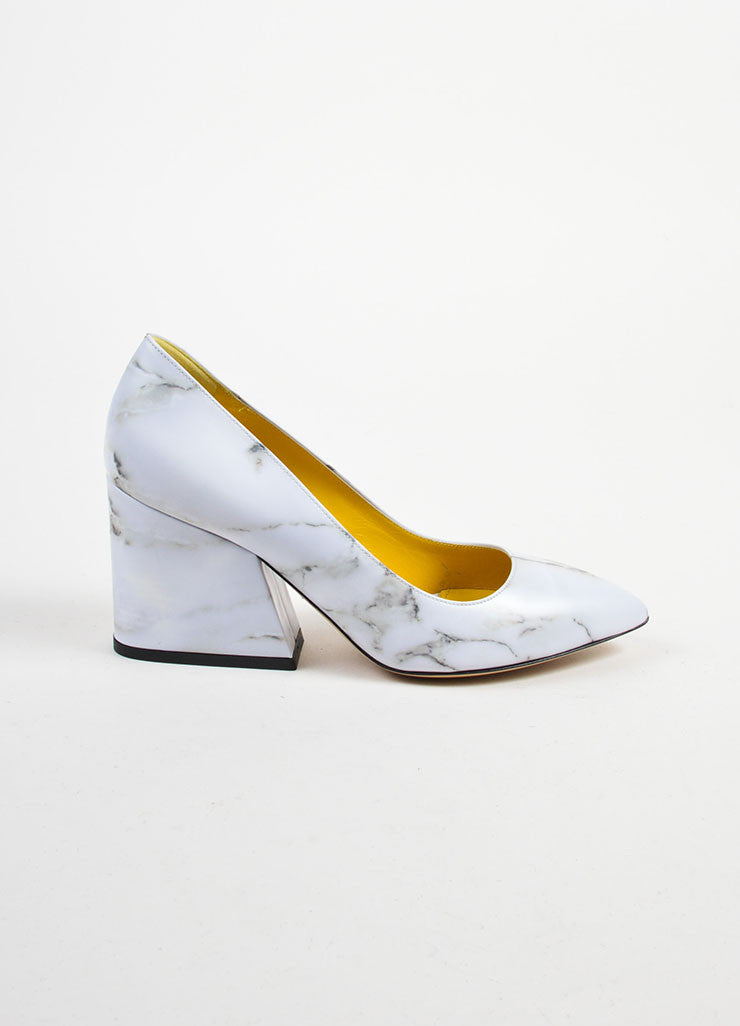 "Grey Leather Charlotte Olympia Marble Print ""Vendome"" Pumps Sideview"