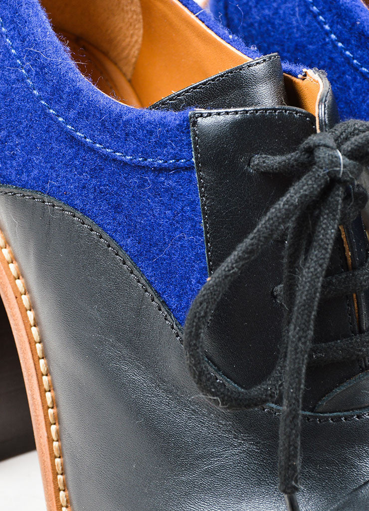 Black and Blue Chloe Leather Felt High Stacked Heel Booties Detail