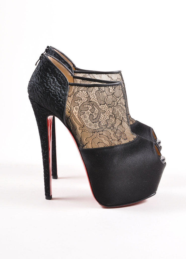 "Christian Louboutin Black Lace Pony Hair ""Aeronotoc 160mm"" Platform Booties Sideview"