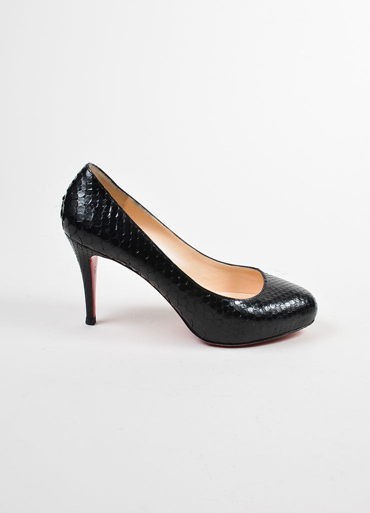 "Christian Louboutin Black Python ""Simple"" Pumps Sideview"