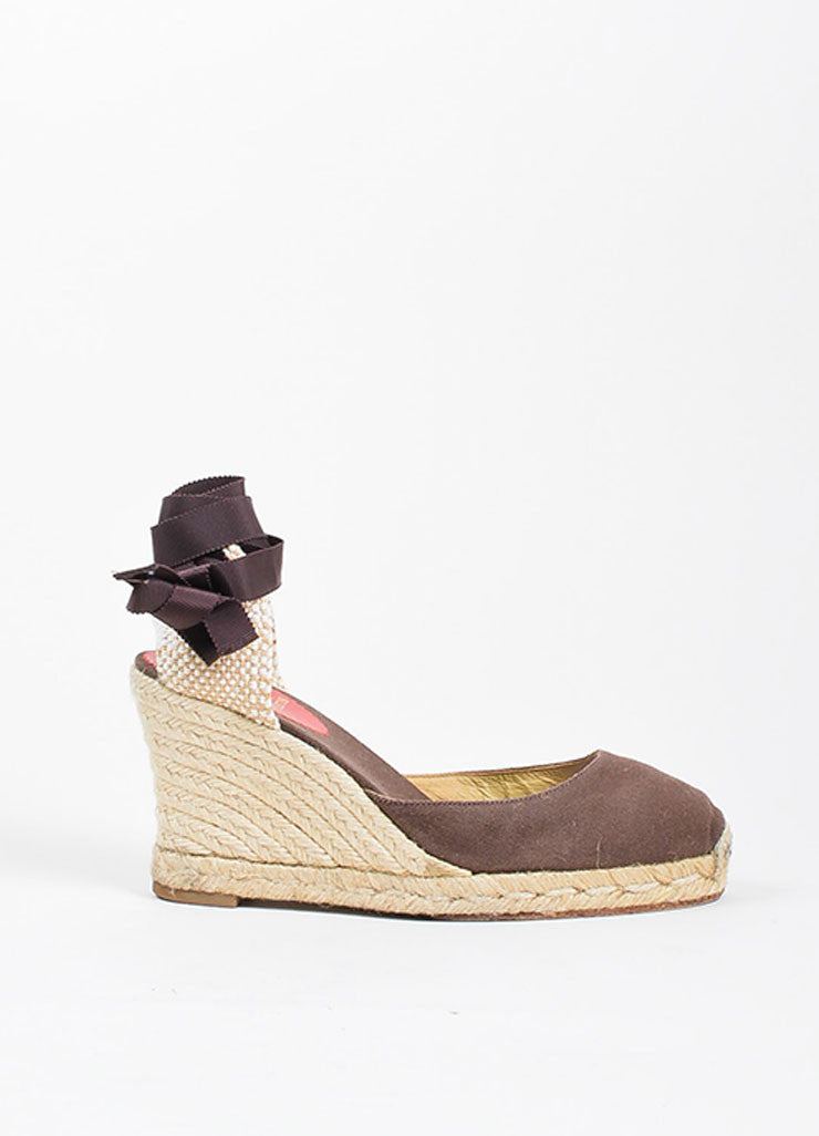 "Christian Louboutin Brown and Beige Canvas Round Toe ""Bridgette"" Espadrille Wedges Sideview"