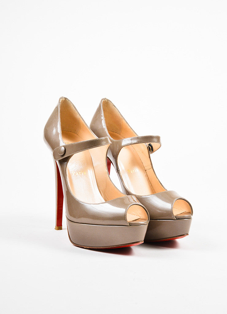 Christian Louboutin Grey Patent Leather Mary Jane Platform Pumps Frontview
