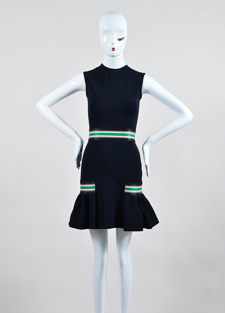 Navy, Green, and Pink Christopher Kane Ribbon Stripe Sleeveless Dress Frontview
