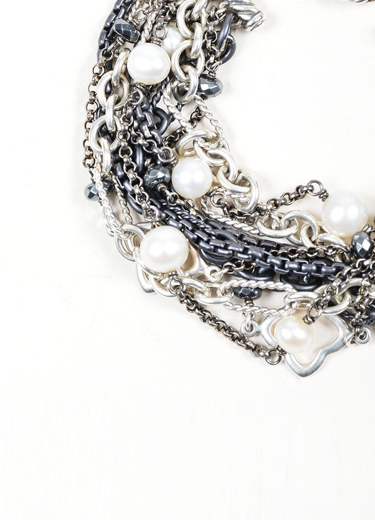 Sterling Silver, Gunmetal, and Cream David Yurman Pearl Multistrand Toggle Bracelet Detail