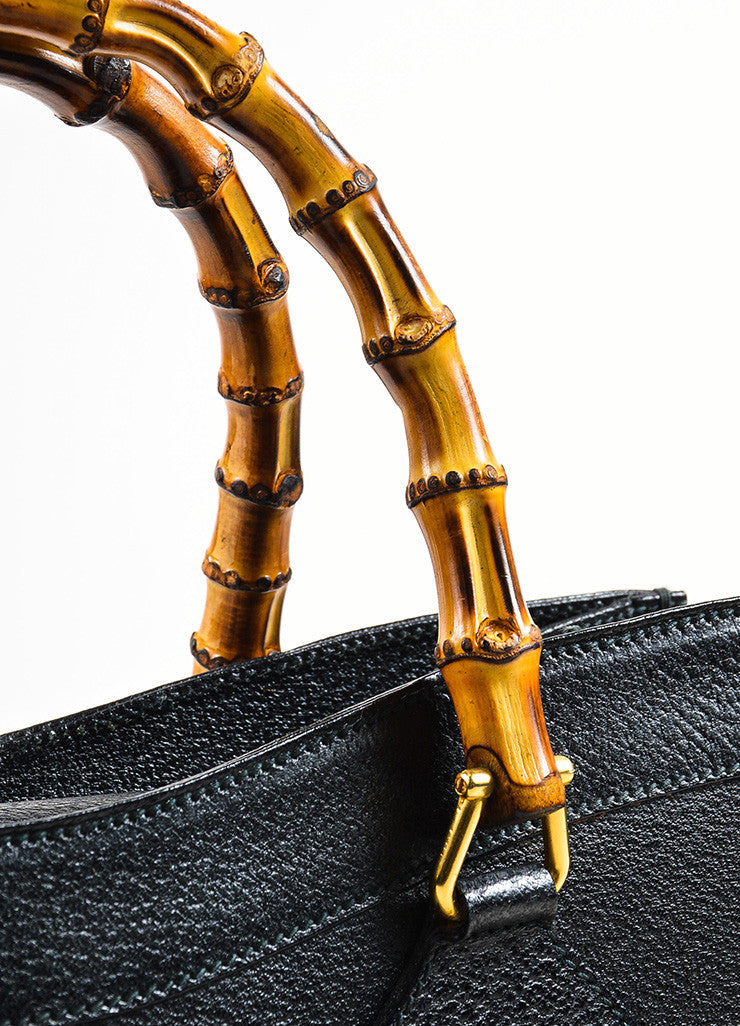 Gucci Black Leather Bamboo Handle Tote Bag Detail 3