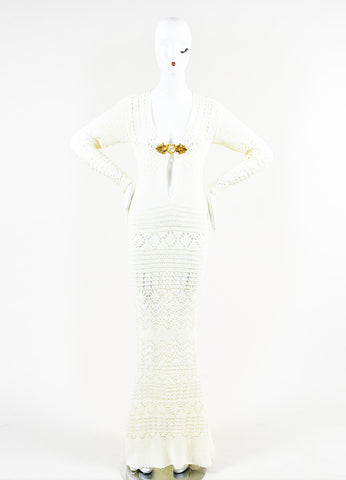 Emilio Pucci Cream and Gold Toned Cotton Crochet Ringed Keyhole Long Sleeve Gown Frontview