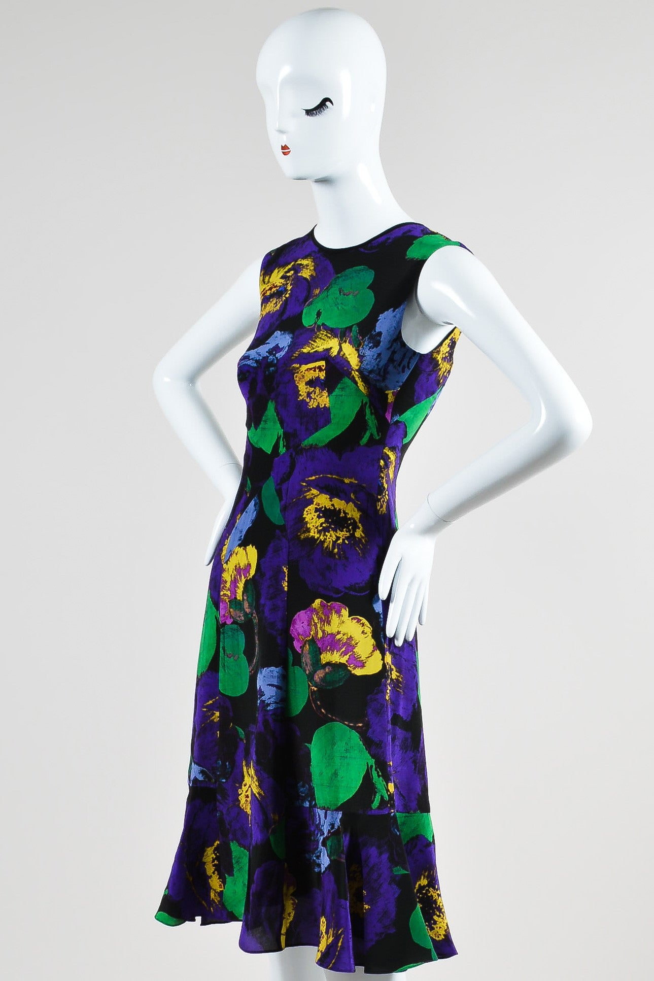 "Purple, Green, and Yellow Erdem Silk Floral Fit and Flare ""Jana"" Dress Sideview"