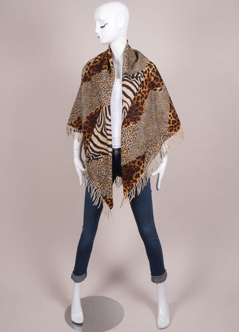 Escada Multicolor Brown Animal Print Wool and Cashmere Shawl Frontview