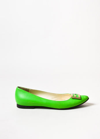 Fendi Neon Green Leather Gold Toned 'FF' Almond Toe Ballet Flats Sideview