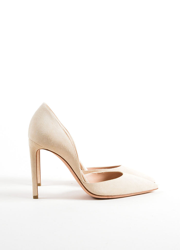 Giambattista Valli Beige Suede Pointed Toe D'Orsay Pumps Sideview