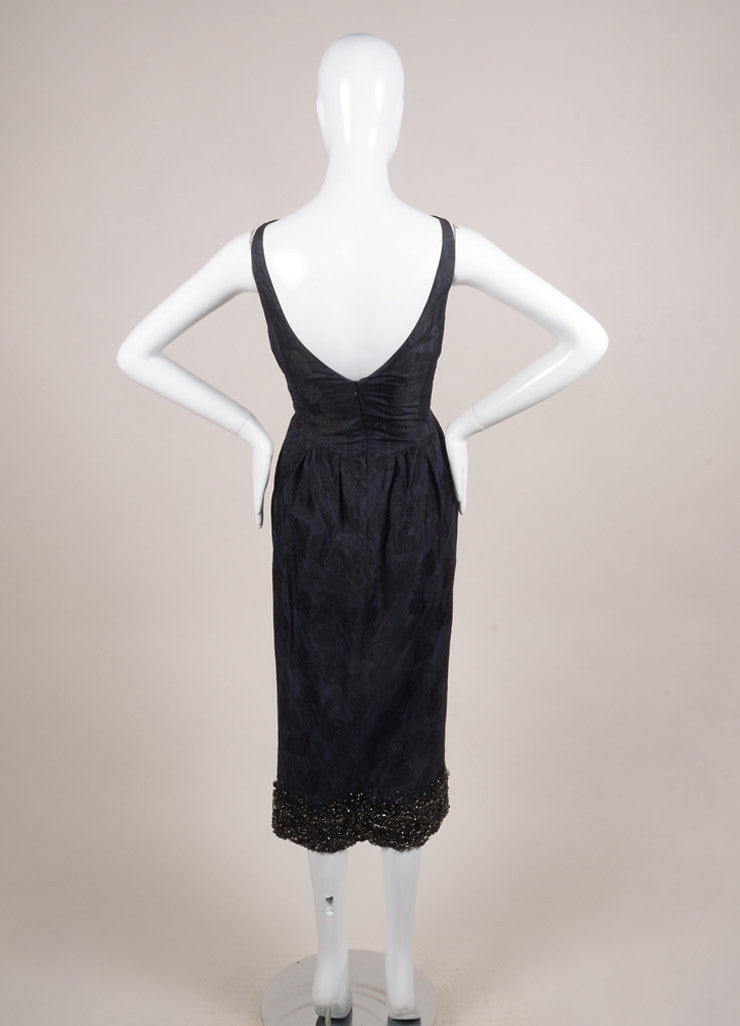 Giambattista Valli Navy Blue and Black Silk Plaid Brocade Embellished Dress Backview