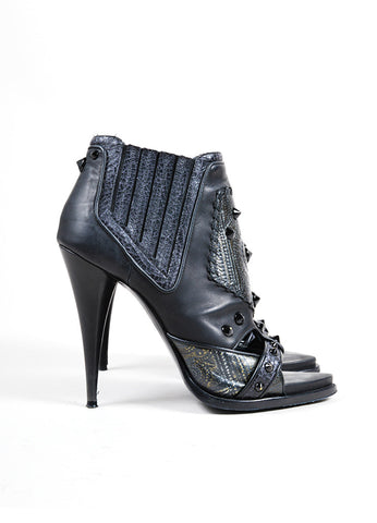Givenchy Black Leather Studded Patchwork Open Toe Heeled Booties Sideview