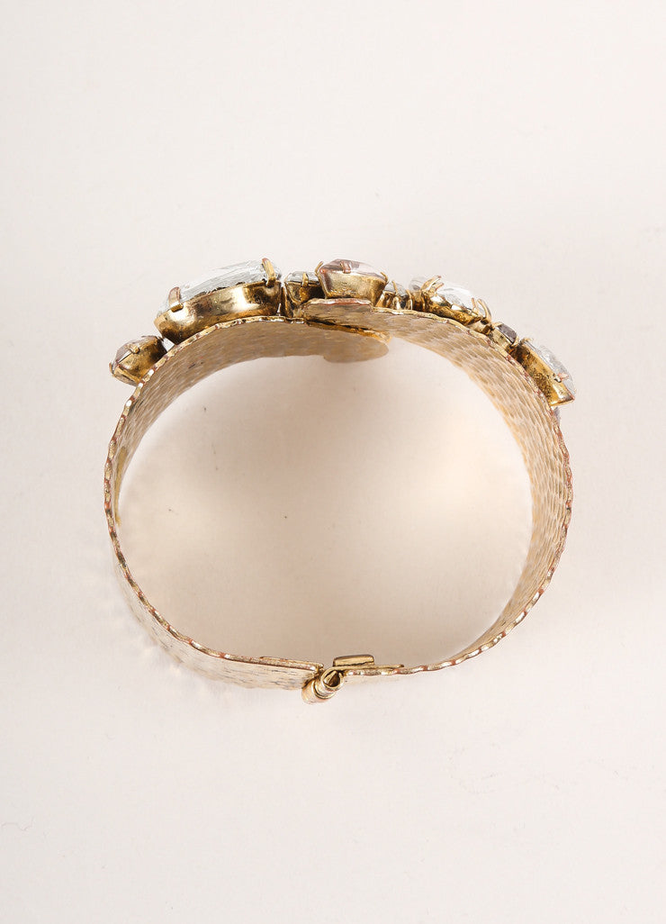 Vintage Gold Toned and Clear Rhinestone Gem Cluster Hammered Metal Bangle Bracelet Topview