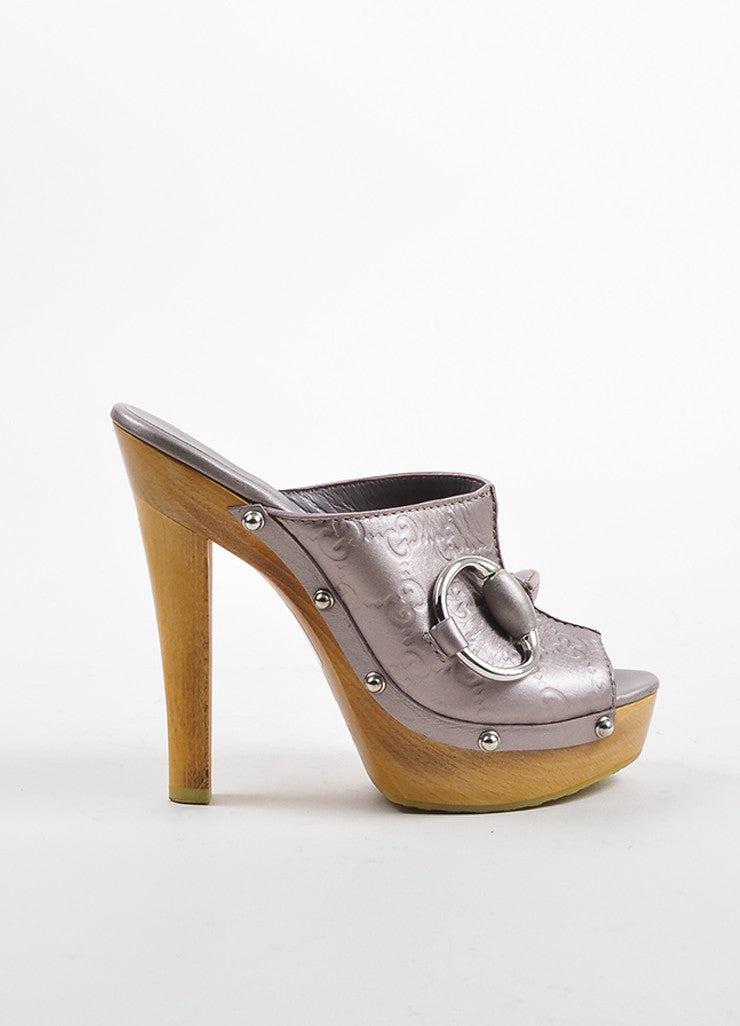 Gucci Lilac Pink Metallic Guccissima Leather Peep Toe High Heel Mules Sideview
